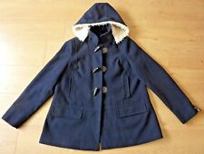next Ladies Hooded Duffle Horn Tooth Button Navy Blue Coat Jacket Size UK 16
