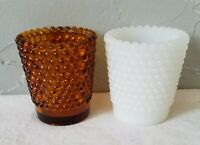 Two Retro Amber and Milk Glass Hobnail Votive Candle Holders