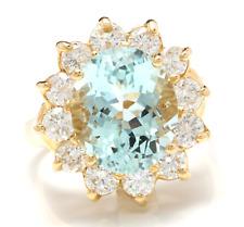 7.68Ct Naturale Acquamarina e Diamante 14K Solido Oro Giallo Anello