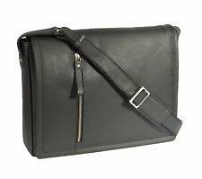 Messenger UOMO IN PELLE NERA Borsa iPad Laptop Vintage Spalla record MAN BAG NEW