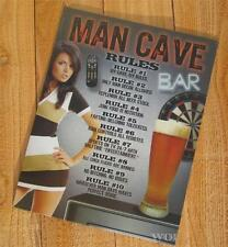 Man Cave Club Rules Beer Glass Bar Sign Darts Chick Pic TV Remote Metal Picture