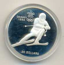Canada Olympic Games Calgary 1988 Downhill Skier Silver 20 Dollars 1985 PROOF
