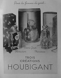 PUBLICITÉ 1930 HOUBIGANT PARFUM DEMI-JOUR FLORAISON PRESENCE TROIS CRÉATION