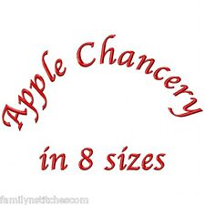 Apple Chancery Font Machine Embroidery Designs on CD in 8 sizes 632 files