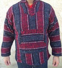 Medium Mexican Baja Hippie Surfer Pullover Hooded Sweater Dark Gray/Red/White