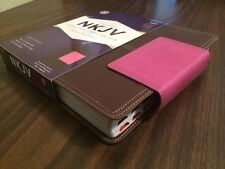 NKJV Large Print Reference Bible Indexed- $49.99 Retail - Pink / Brn Leathersoft