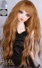 """8-9-10"""" 1/3 BJD Long Curly Mellow Cream Light Brown Wig LUTS Doll SD DZ DOD Hair"""