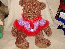 FIRST & MAIN BROWN TUCKER TEDDY BEAR PLUSH WITH RED BOW 1715 Red Hat Lady Sweate