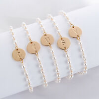 Bracelet Cuff Pearl Charm Hot 26 Initial Letters Knot Jewelry Love Women Bangle