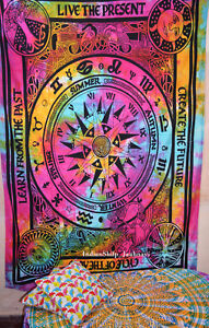 Cycle of Ages mandala Wall Hanging Double Tapestry Bedspread Hippie Bohemian Hp0