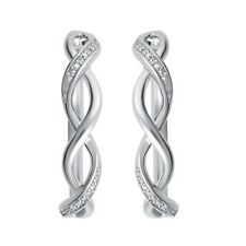 14K Silver Plated Diamond Accent Twisted Hoop Earring