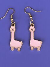 Pink Llama Earrings/Dangle Hook Earrings/Women/Cute/Fashion/Alpaca/Cool/Llama