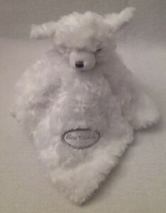 Blankets & Beyond Bless This Baby Boy/Girl Layette White Bear Rosette Nunu Lovey