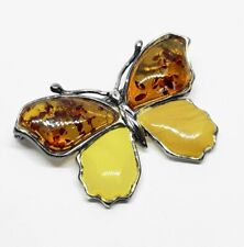 Sterling Silver 925 Butterscotch Amber Butterfly Brooch
