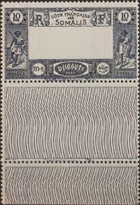 Costa De Somalia. MNH Yv 168a. 1938. 10 F Azul. Centre Omitido. Magnifico Et R