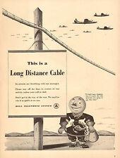 1942 WW2 AD BELL TELEPHONE Long Distance Cartton Phone repair man  010517