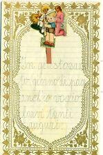 LETTERINA DI NATALE Anni '30 Bordo in rilevo con decorazione applicata