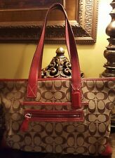 Coach Handbag Beige Signature Canvas With Berry Leather Trim Model #M1J-6082