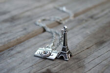 Paris Inspired Charm Necklace Eiffel Tower Camera Travel Christmas Gift Ideas