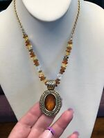 Vintage Gold Avon  Signed  Intricate 16 Inch Necklace Imitation Amber pendant