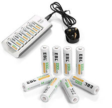 EBL 8 x AA 2300mAh Ni-MH Rechargeable Batteries With 8 Channel Battery Charger