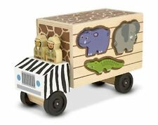 Melissa & Doug Animal Rescue Shape-Sorting Truck - Wooden Toy With 7 Animals and
