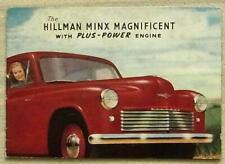 HILLMAN MINX MAGNIFICENT Pocket Size Sales Brochure 1949-50 #92/11/49/56/E1  CVT