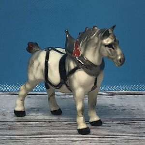 Hagen Renaker Old Monrovia White Draft Horse in Harness Red Bobs Repaired