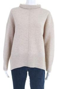 Suncoo Womens Long Sleeve Turtleneck Sweater Beige Ribbed Knit Wool Size 2