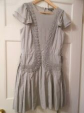 WAREHOUSE 12 GREY SUMMER SHORT DRESS PLEATS EMBROIDERY BELT CHIFFON POLY FRILL
