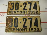1932 32 Vermont VT License Plate Pair 30274