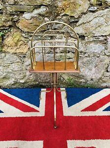Fabulous Victorian Oak & Brass Canterbury on Tripod stand. (Newspaper rack)