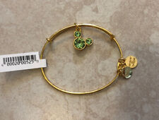 Alex and Ani Disney Mickey AUGUST BIRTHSTONE Peridot Gold Bangle Bracelet NEW