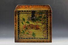 A ChineseTibetan Beautiful Wood Storage Box Tiger Animal Painting