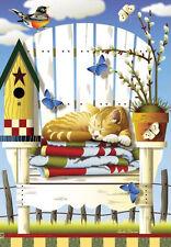 HOUSE FLAG- Country SUMMER LAZY DAZE Kitty Cat Beach Chair Birdhouse 28 x40 Flag