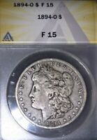1894-O Morgan Silver Dollar, ANACS  F15 , Good Issue Free Coin. Better Date !!