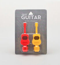 Silicone Guitar Wine Bottle Stoppers Yellow Red Barware Dinner Party Celebration