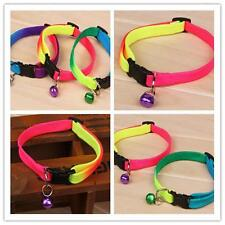 Rainbow Color Adjustable Pet Dog Cat Collar Necklace Collars Leads with Bell GX
