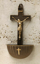 """Catholic Gift 5.25""""  Brown Gold Accent INRI Crucifix Hanging Holy Water Font"""