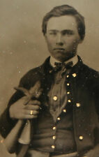 CIVIL WAR SOLDIER IN UNIFORM. TINTED AMBROTYPE  9TH PLATE, FULL CASE.