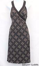 BCBG Max Azria Surplice Dress Ruched Side Black Beige Geometric Stretch Knit S
