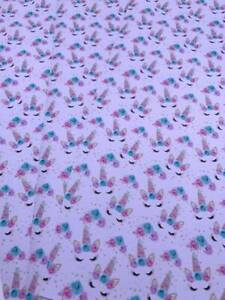 Sleeping Unicorn Flowers Printed Leatherette Fabric A4 Sheets Faux Leather