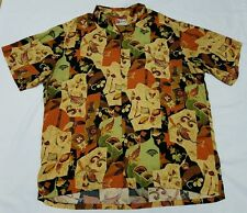 Hawaiian Shirt Japanese Koi Carp Mens XXL 2XL - Hilo Hattie Bamboo Orange EUC