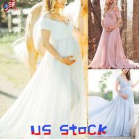 Fashion Pregnant Women Maternity Maxi Dress Gown Strapless Long Tail Wedding US