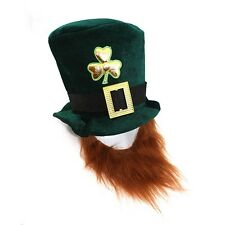 St. Patrick's Day Green Velvet Leprechaun Top Hat with Beard Costume Accessory