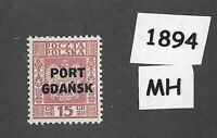 #1894   15Gr  MH stamp 1934 Port Gdansk / Prussia / Poland / Third Reich Germany