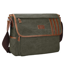 Men's Canvas 14''Laptop Cross Body Bag Messenger Shoulder Bag Satchel School Bag