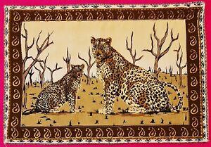VINTAGE AUTHENTIC ANIMAL ART LEOPARDS BEIGE BROWN COTTON BLEND COASTER DOILY