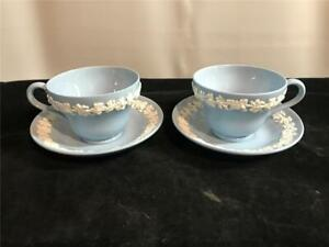 2 Wedgwood Embossed Queensware Blue w/ White Cups & Saucers Etruria Barlaston