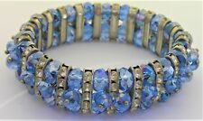 Vtg Blue Crystal Rhinestone Stretch Bracelet 3 Multi Row Strand Dangle Cha Cha